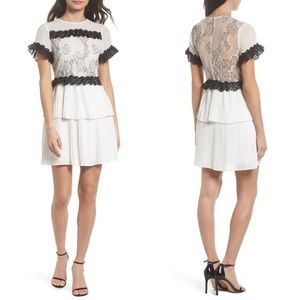 Foxiedox Melita Tiered White Dress with Black Lace
